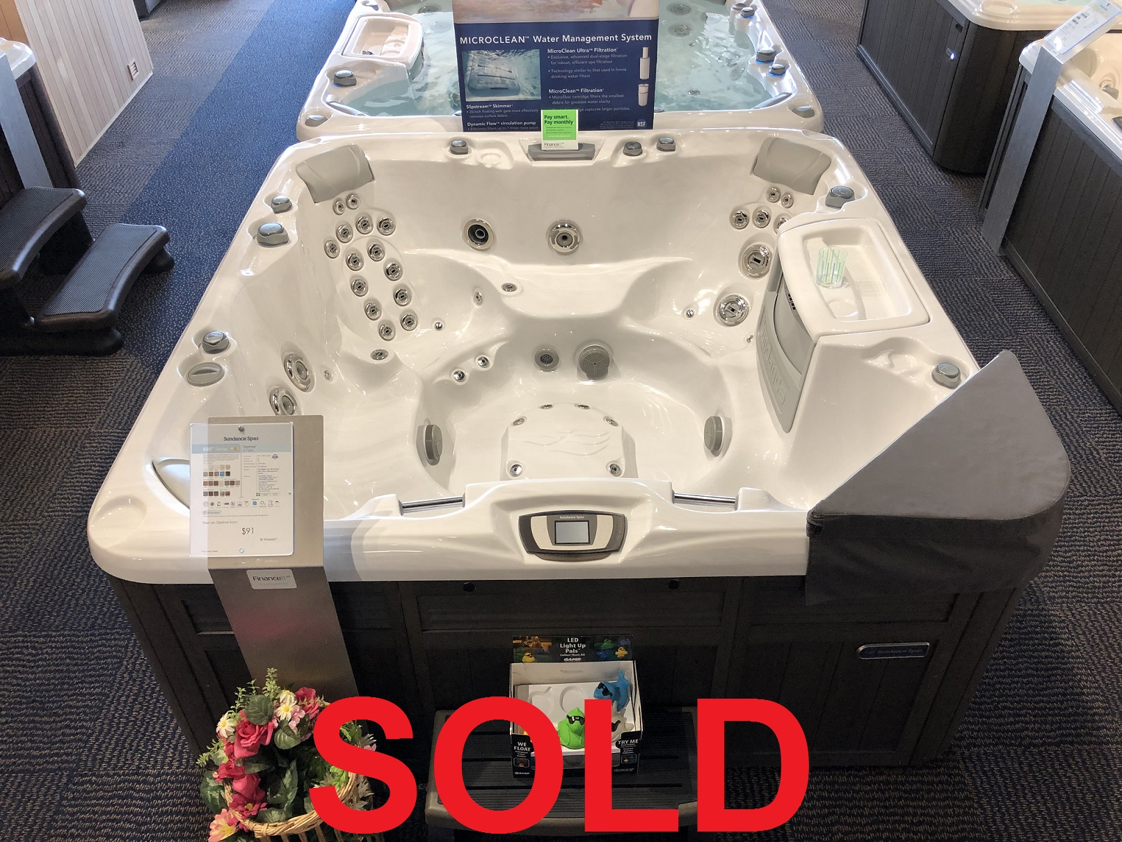 Sundance Spas Optima 7 person hot tub spa whirlpool sale special specials hot tubs whirlpools jacuzzis near me Burlington Ontario